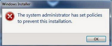 The System Administrator has set policies to prevent this installation